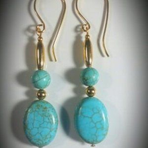 Turquoise Oval & Gold filled Earrings